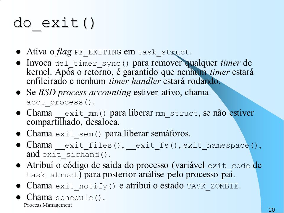 do_exit() Ativa o flag PF_EXITING em task_struct.