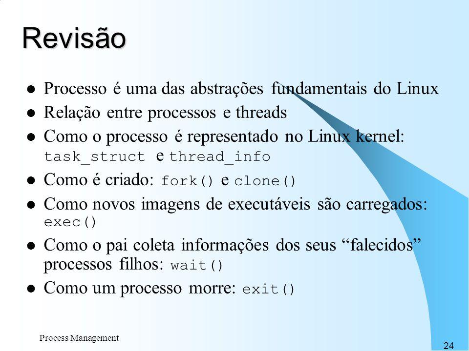 Revisão Processo é uma das abstrações fundamentais do Linux