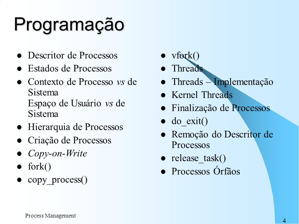 Programação Descritor de Processos Estados de Processos