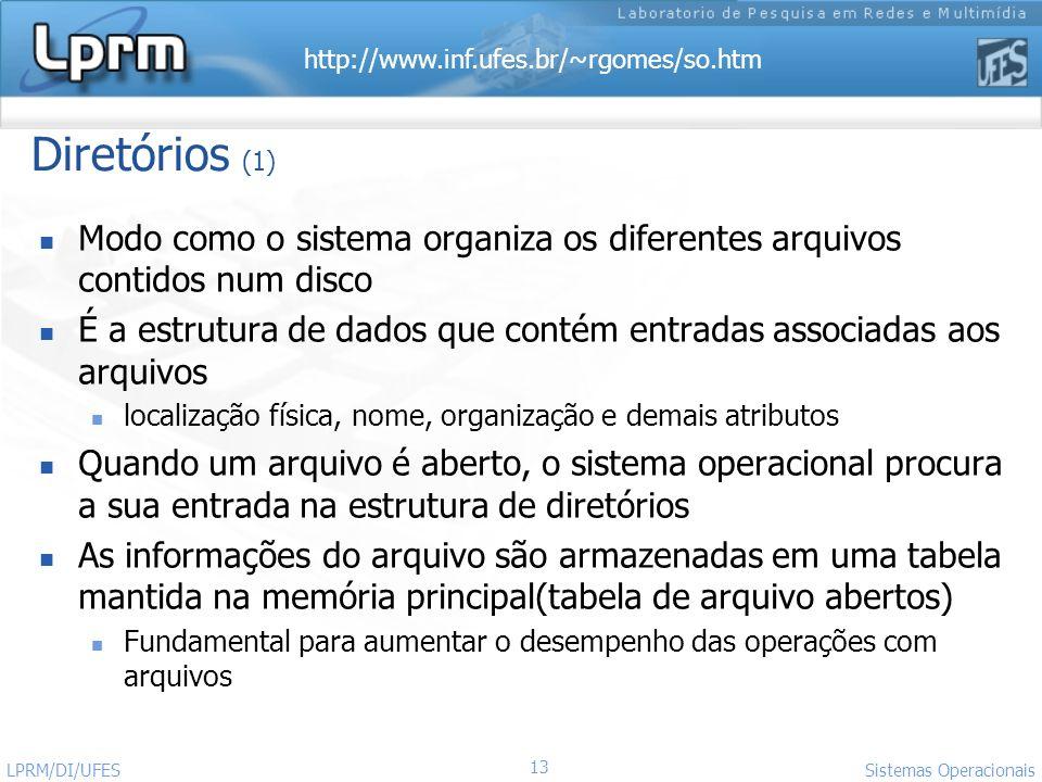 Diretórios (1) Modo como o sistema organiza os diferentes arquivos contidos num disco.