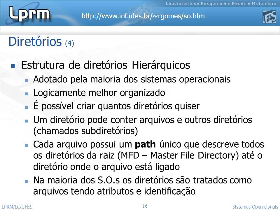 Diretórios (4) Estrutura de diretórios Hierárquicos