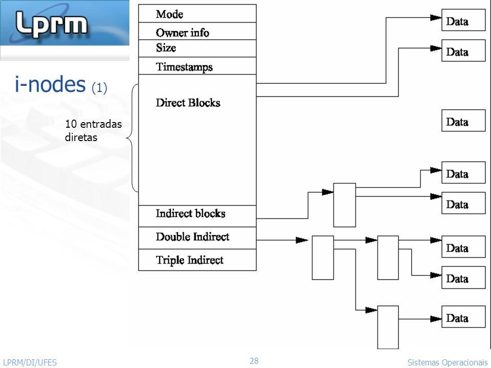 i-nodes (1) 10 entradas diretas LPRM/DI/UFES Sistemas Operacionais