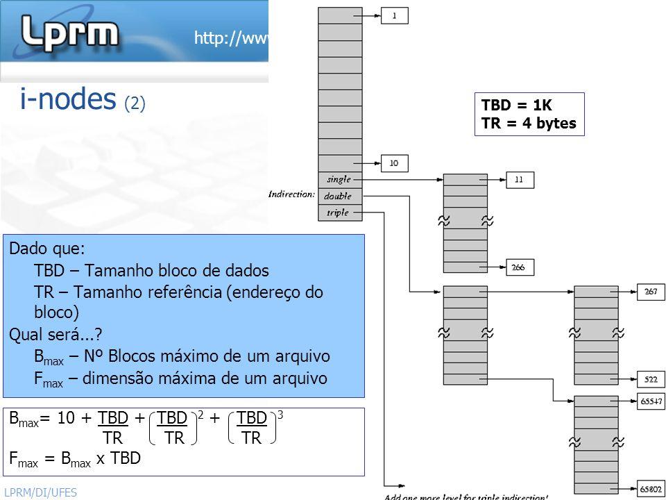 i-nodes (2) Dado que: TBD – Tamanho bloco de dados