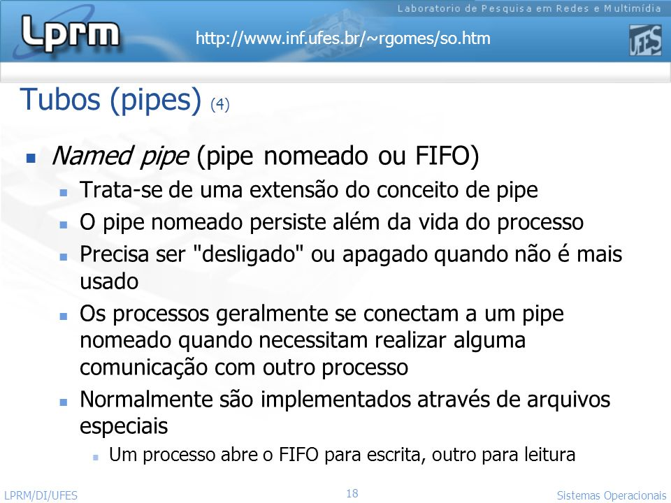 Tubos (pipes) (4) Named pipe (pipe nomeado ou FIFO)