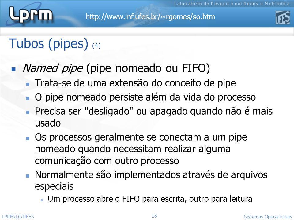 Tubos (pipes) (4) Named pipe (pipe nomeado ou FIFO)