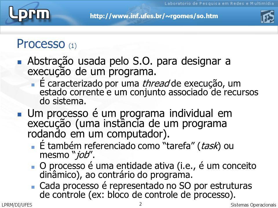 Processo (1) Abstração usada pelo S.O. para designar a execução de um programa.