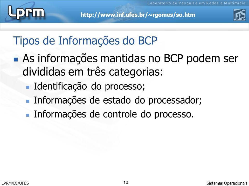Tipos de Informações do BCP