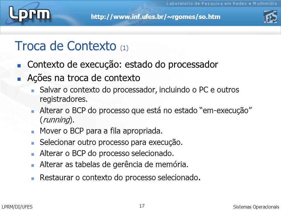 Troca de Contexto (1) Contexto de execução: estado do processador