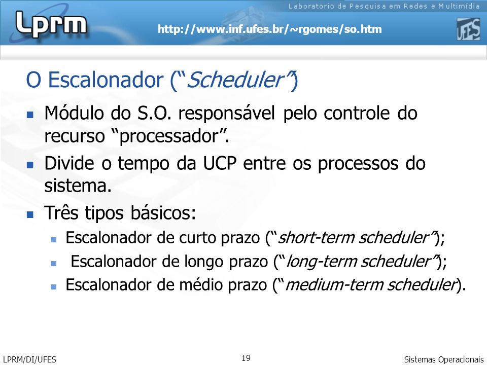 O Escalonador ( Scheduler )