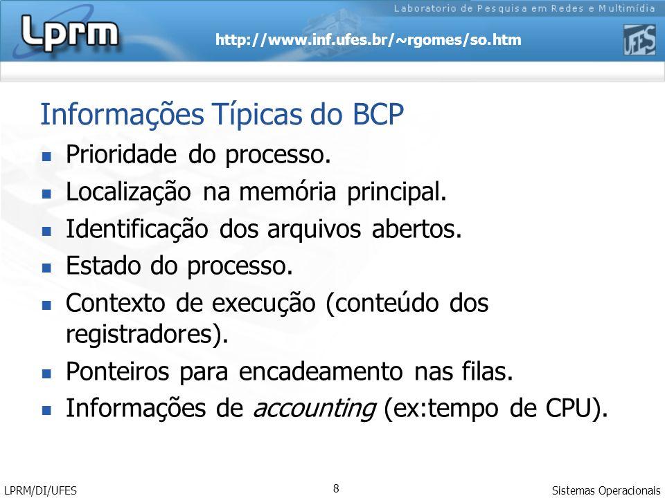 Informações Típicas do BCP