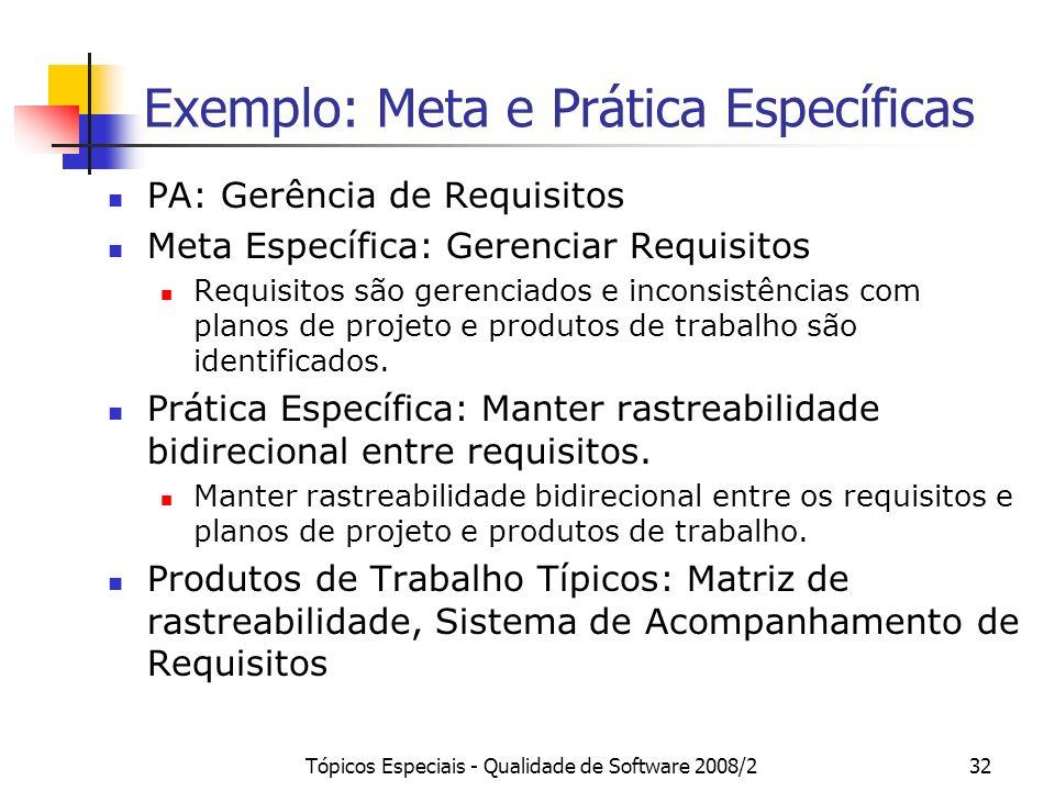 Exemplo: Meta e Prática Específicas