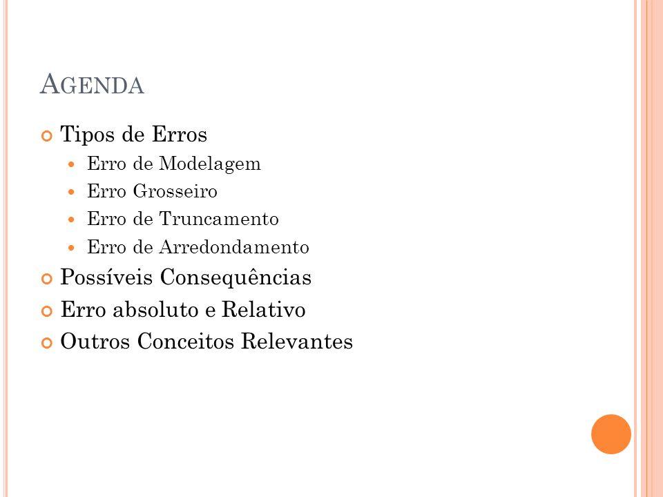Agenda Tipos de Erros Possíveis Consequências Erro absoluto e Relativo
