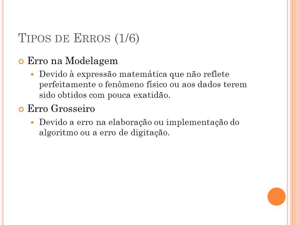 Tipos de Erros (1/6) Erro na Modelagem Erro Grosseiro