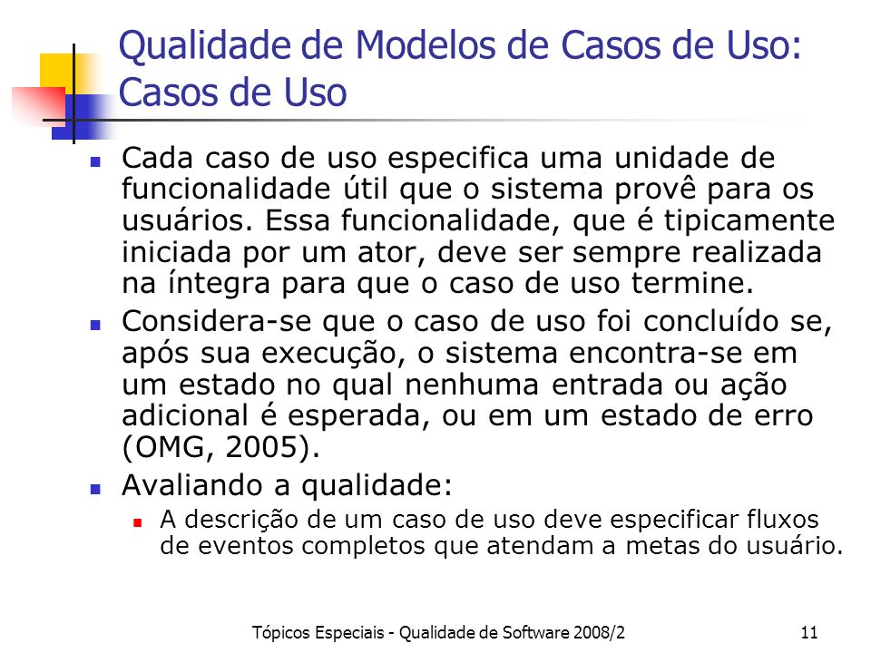 Qualidade de Modelos de Casos de Uso: Casos de Uso