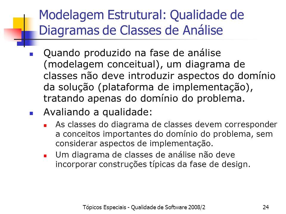 Modelagem Estrutural: Qualidade de Diagramas de Classes de Análise