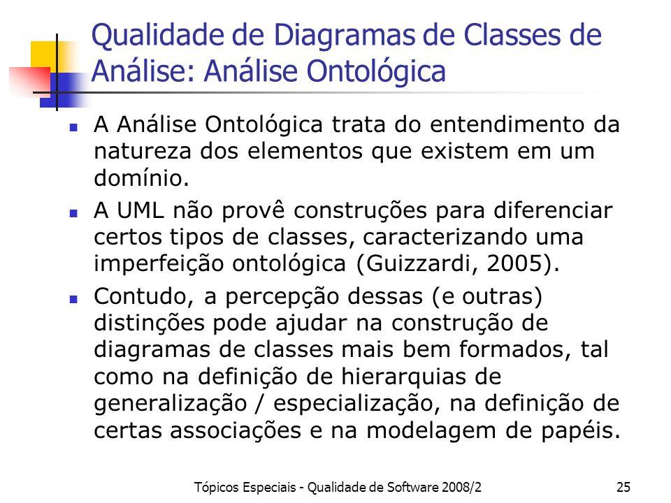 Qualidade de Diagramas de Classes de Análise: Análise Ontológica