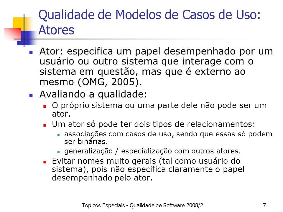 Qualidade de Modelos de Casos de Uso: Atores