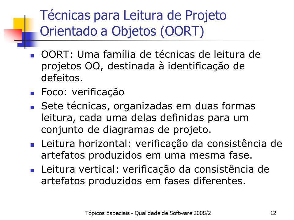 Técnicas para Leitura de Projeto Orientado a Objetos (OORT)