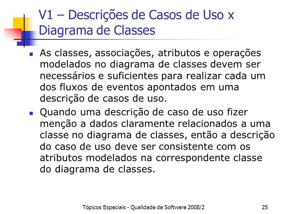 V1 – Descrições de Casos de Uso x Diagrama de Classes