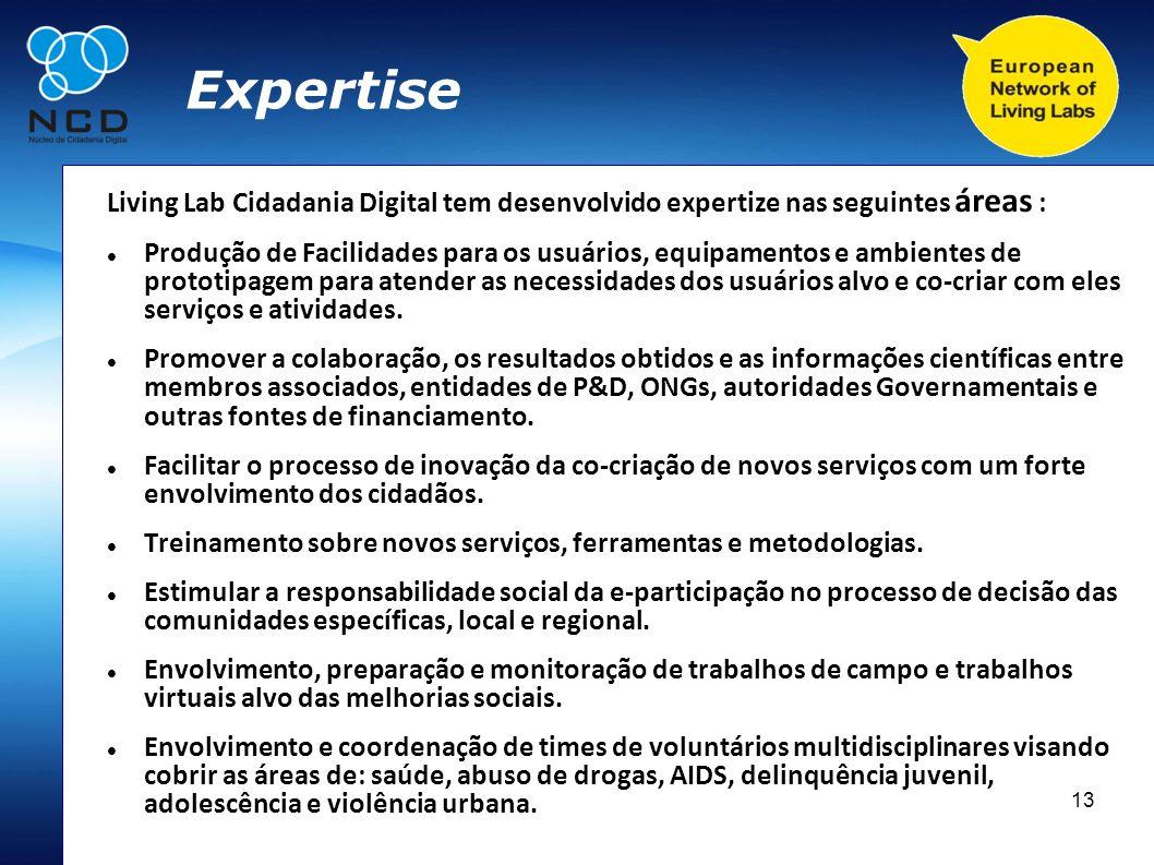 Expertise Living Lab Cidadania Digital tem desenvolvido expertize nas seguintes áreas :