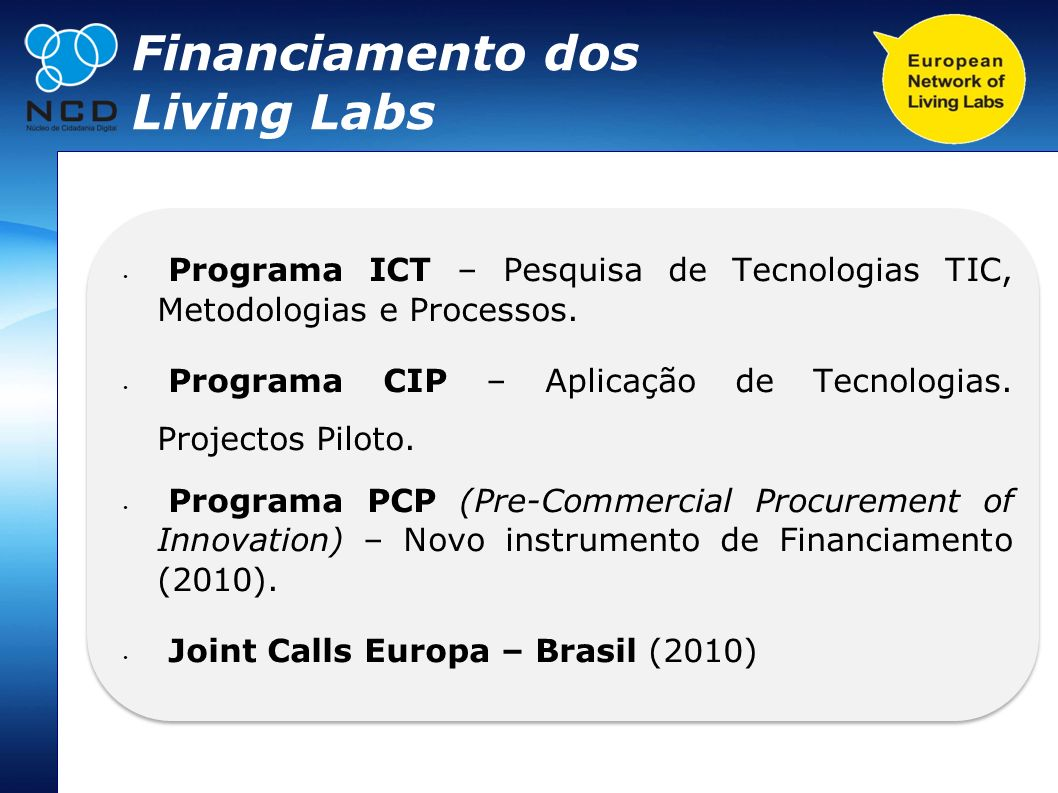 Financiamento dos Living Labs