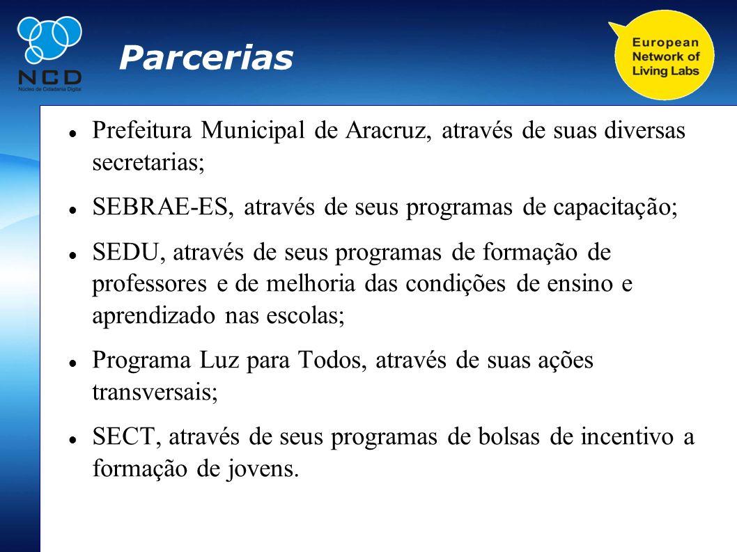 Parcerias Prefeitura Municipal de Aracruz, através de suas diversas secretarias; SEBRAE-ES, através de seus programas de capacitação;
