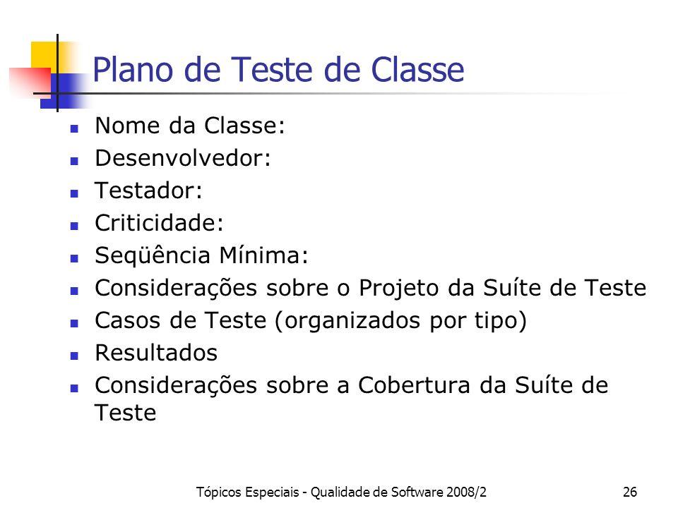 Plano de Teste de Classe