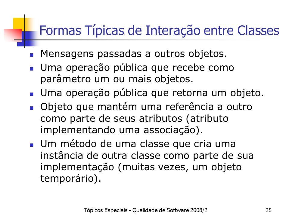 Formas Típicas de Interação entre Classes