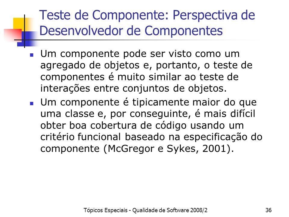 Teste de Componente: Perspectiva de Desenvolvedor de Componentes