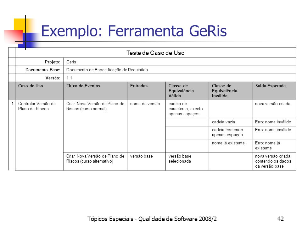 Exemplo: Ferramenta GeRis