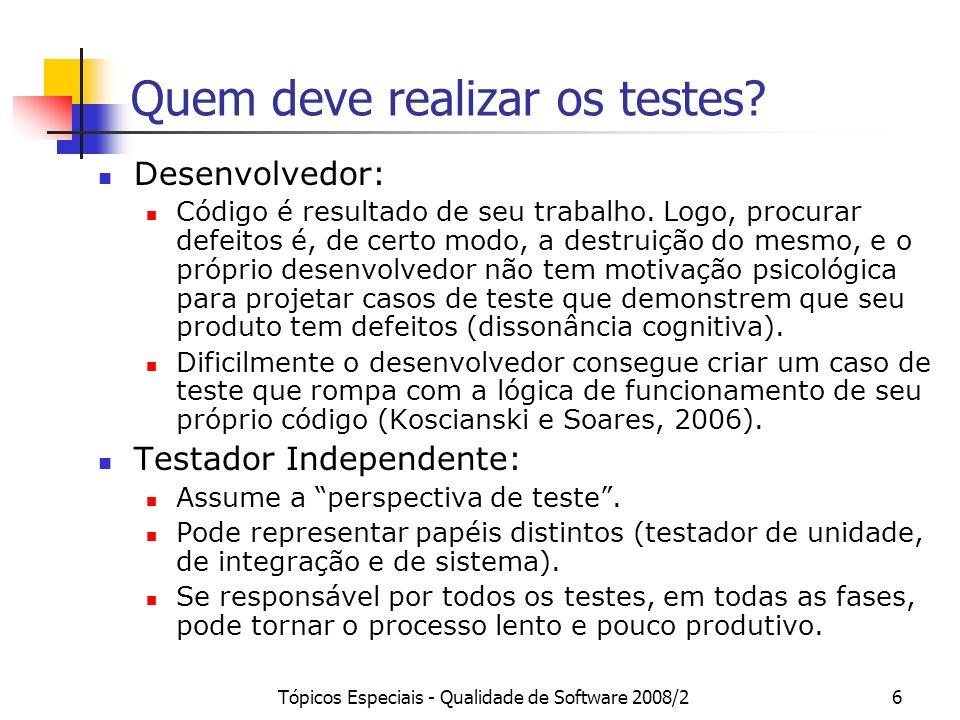 Quem deve realizar os testes