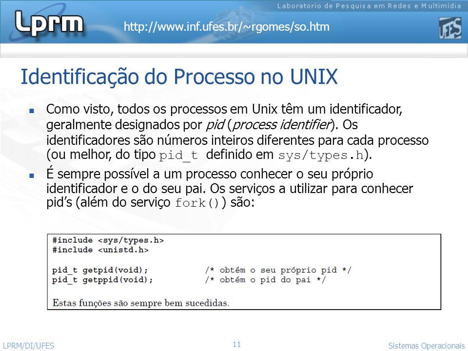 Identificação do Processo no UNIX