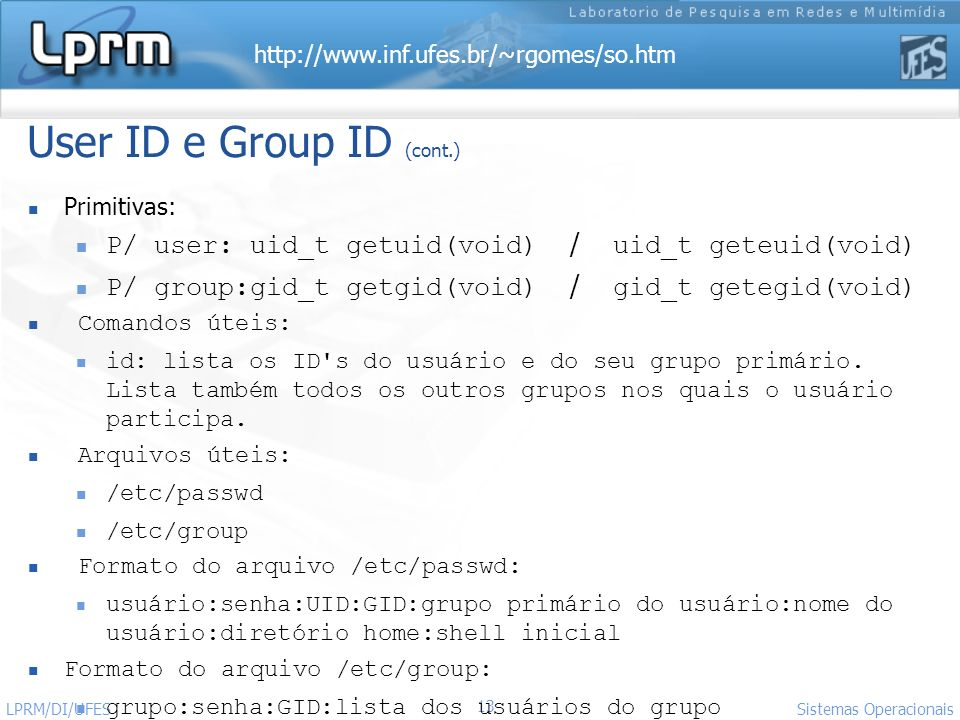 User ID e Group ID (cont.)