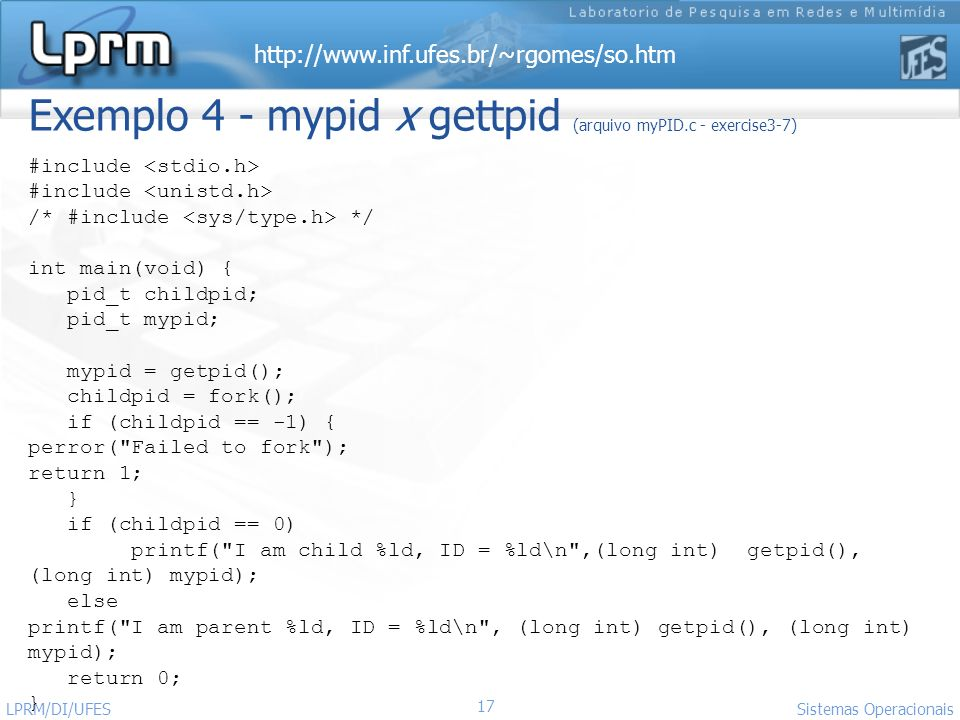 Exemplo 4 - mypid x gettpid (arquivo myPID.c - exercise3-7)
