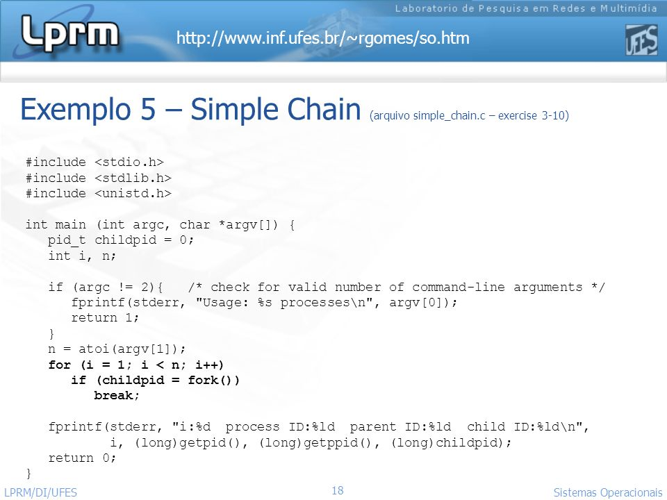 Exemplo 5 – Simple Chain (arquivo simple_chain.c – exercise 3-10)