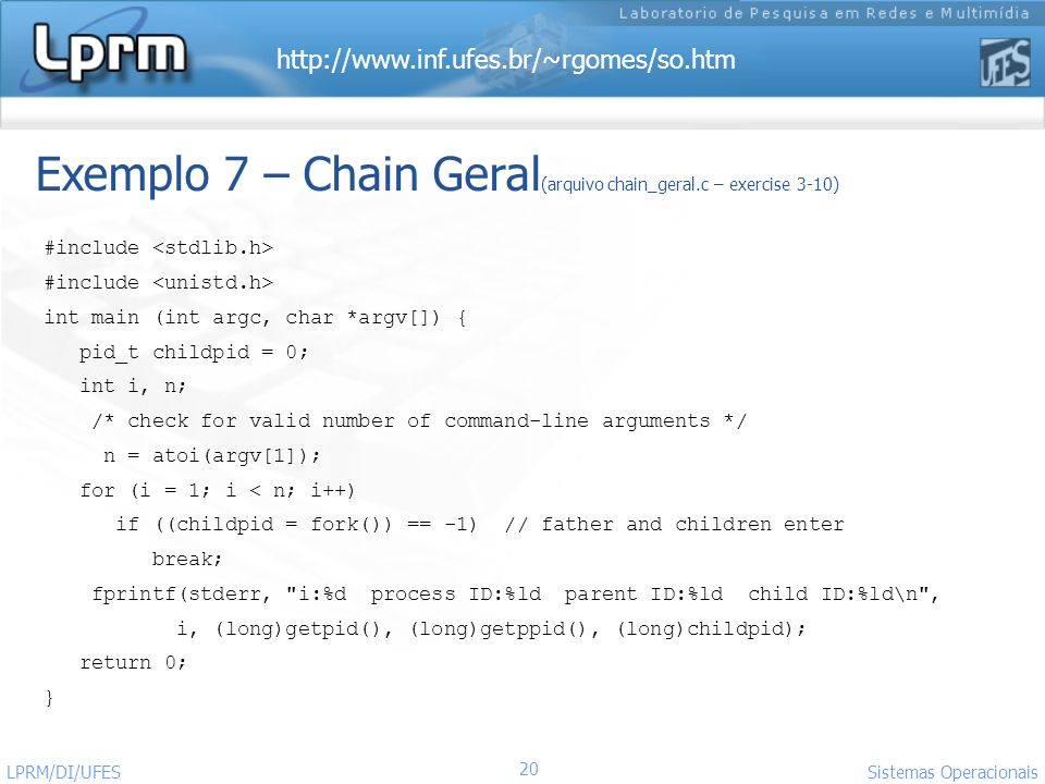 Exemplo 7 – Chain Geral(arquivo chain_geral.c – exercise 3-10)