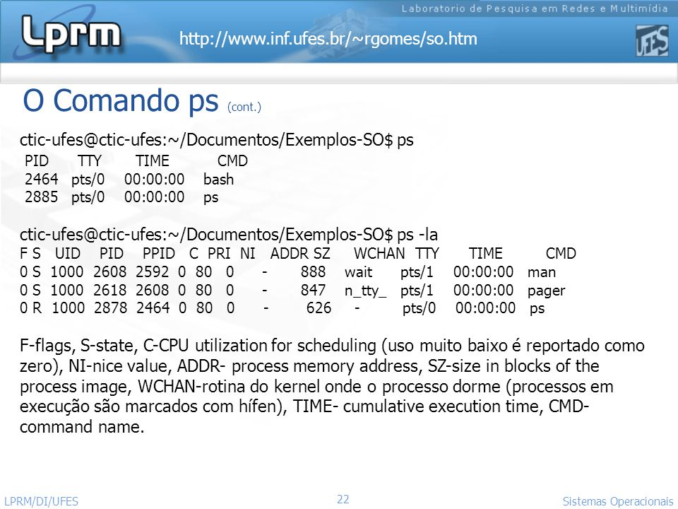 O Comando ps (cont.) ctic-ufes@ctic-ufes:~/Documentos/Exemplos-SO$ ps