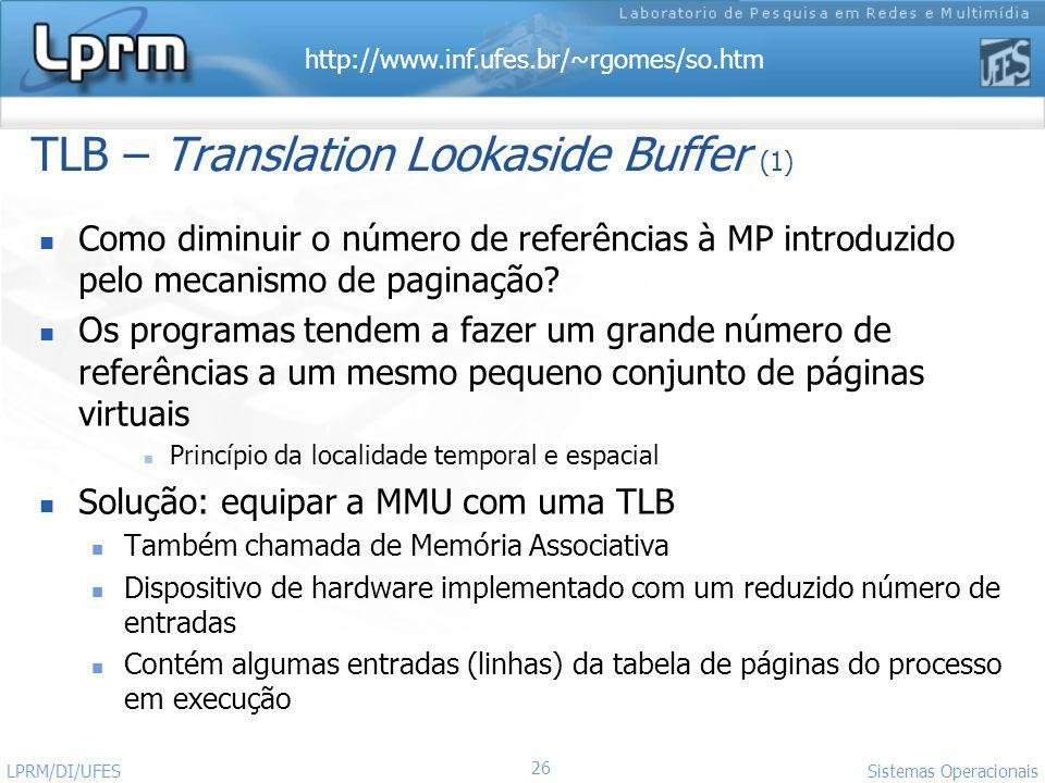 TLB – Translation Lookaside Buffer (1)