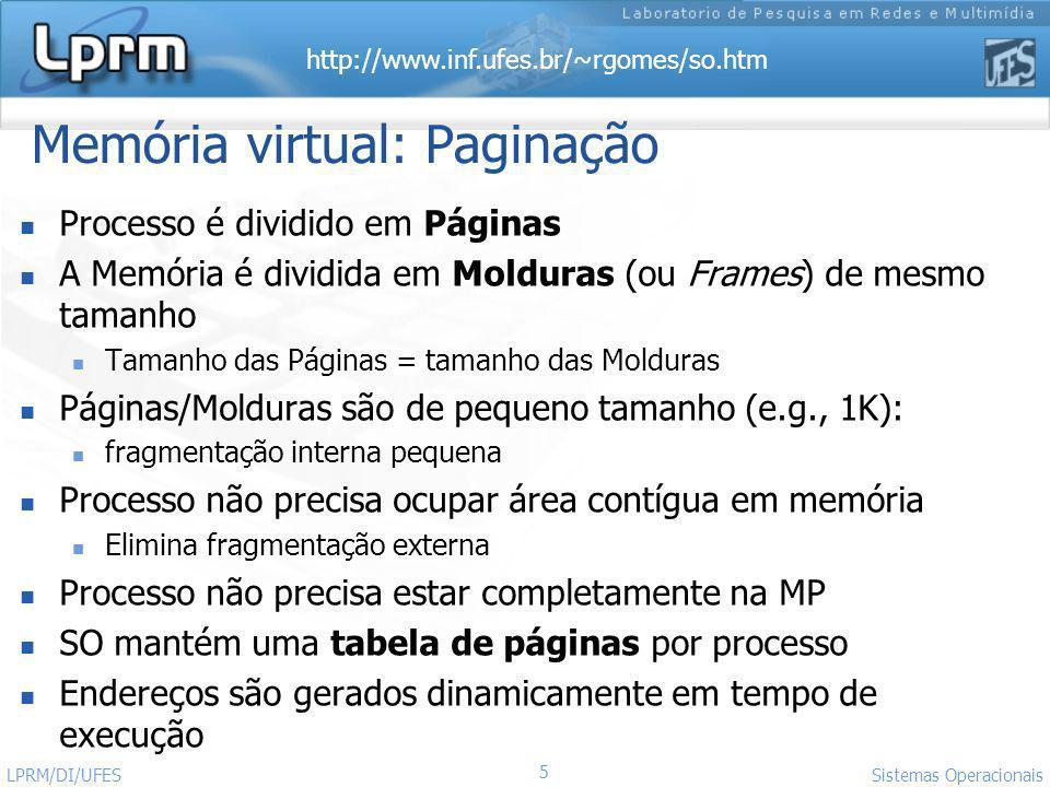Memória virtual: Paginação