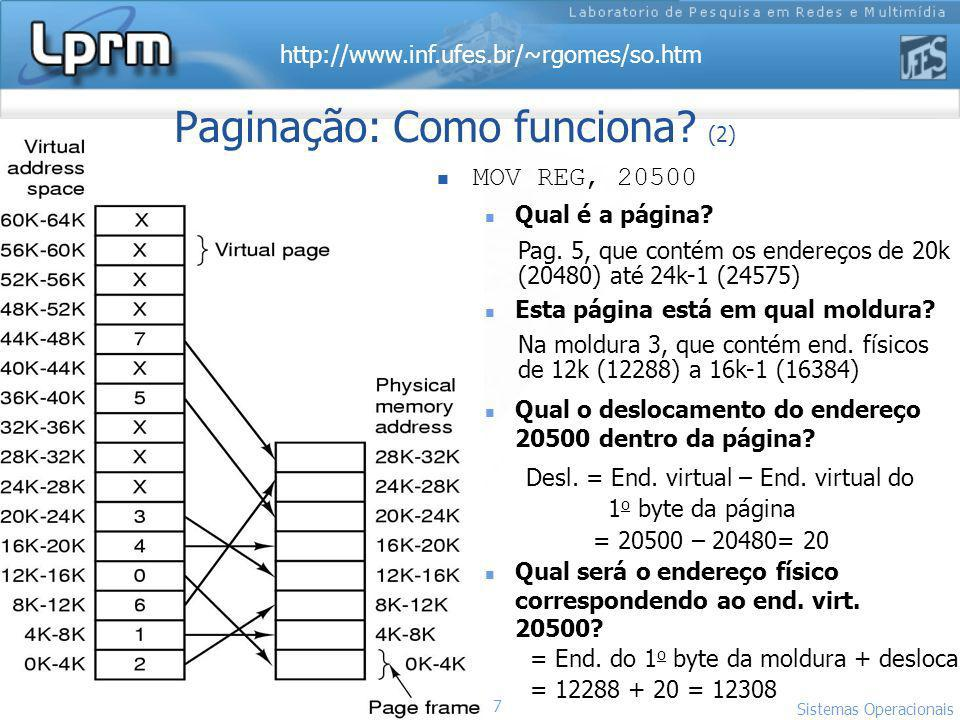 Paginação: Como funciona (2)