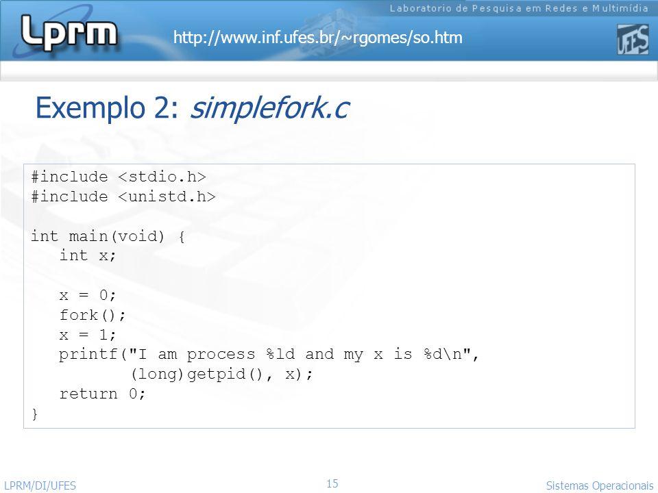 Exemplo 2: simplefork.c #include <stdio.h>