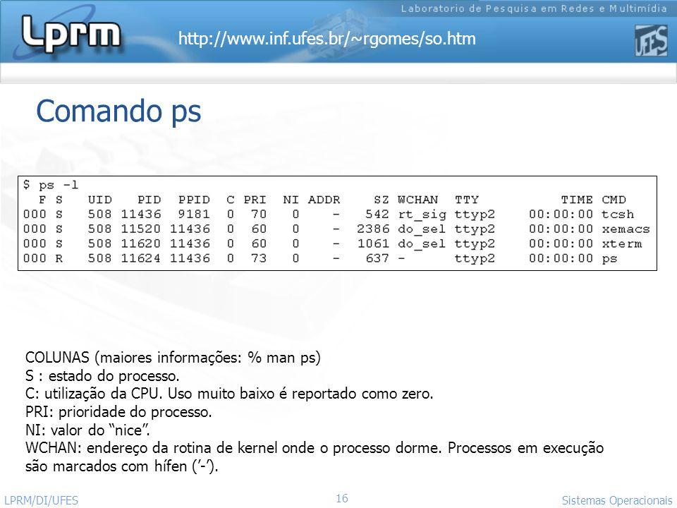 Comando ps COLUNAS (maiores informações: % man ps)