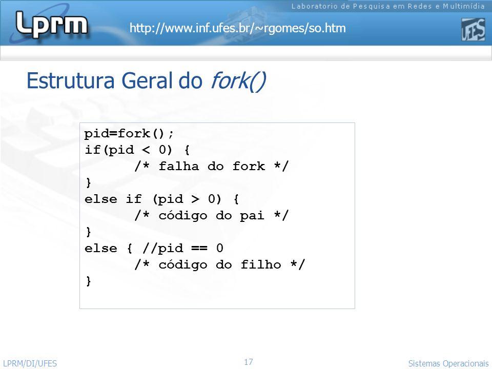 Estrutura Geral do fork()