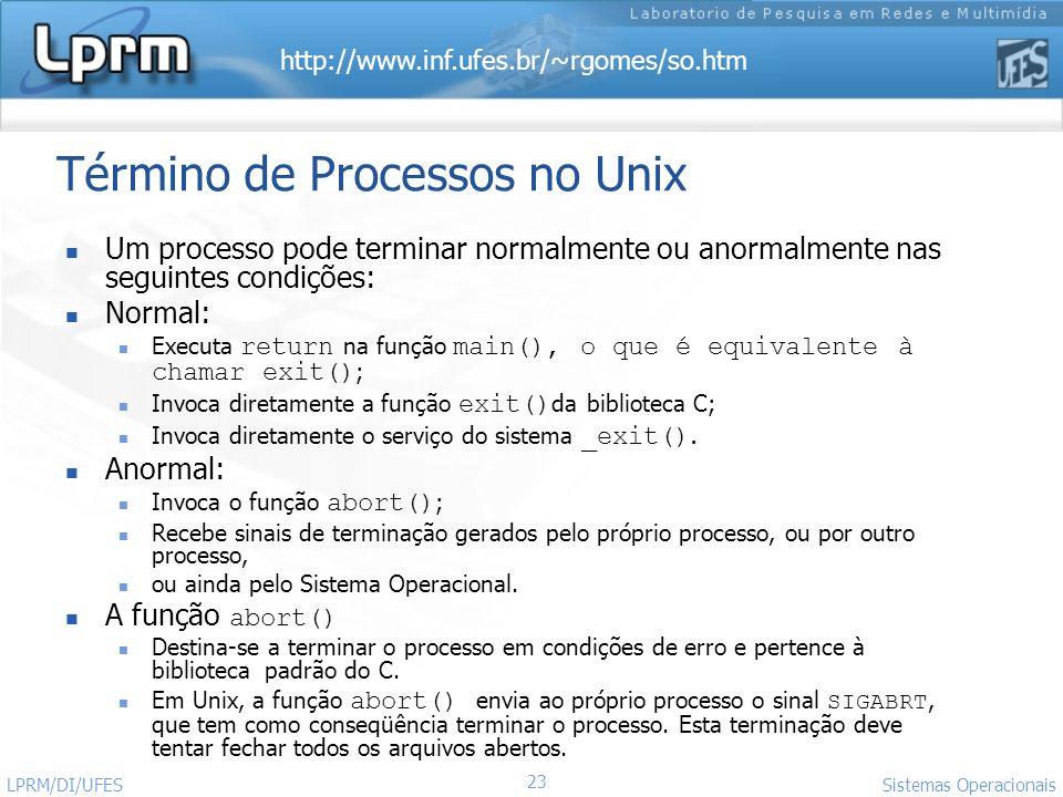 Término de Processos no Unix