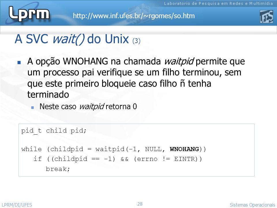 A SVC wait() do Unix (3)