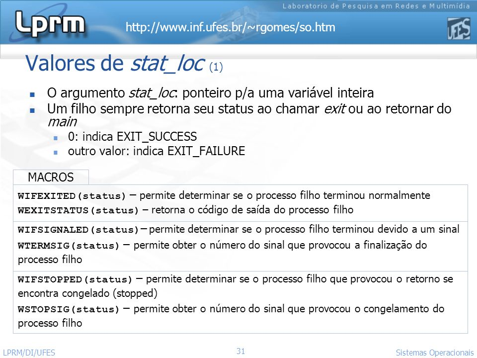 Valores de stat_loc (1) O argumento stat_loc: ponteiro p/a uma variável inteira.