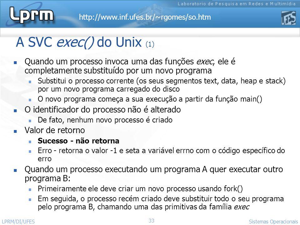 A SVC exec() do Unix (1) Quando um processo invoca uma das funções exec, ele é completamente substituído por um novo programa.