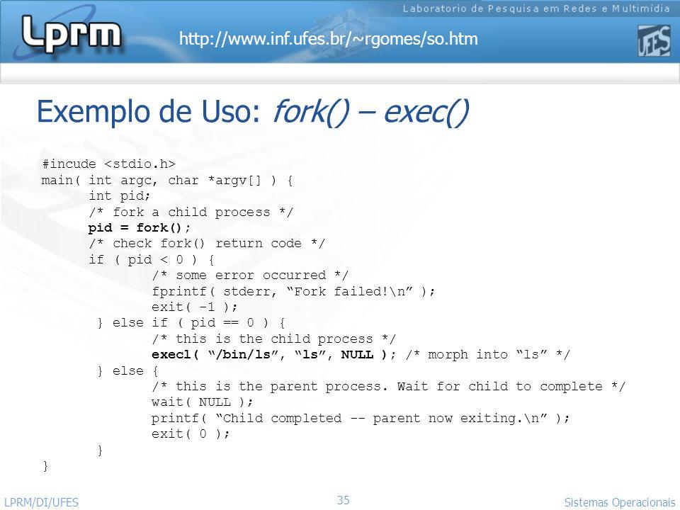 Exemplo de Uso: fork() – exec()