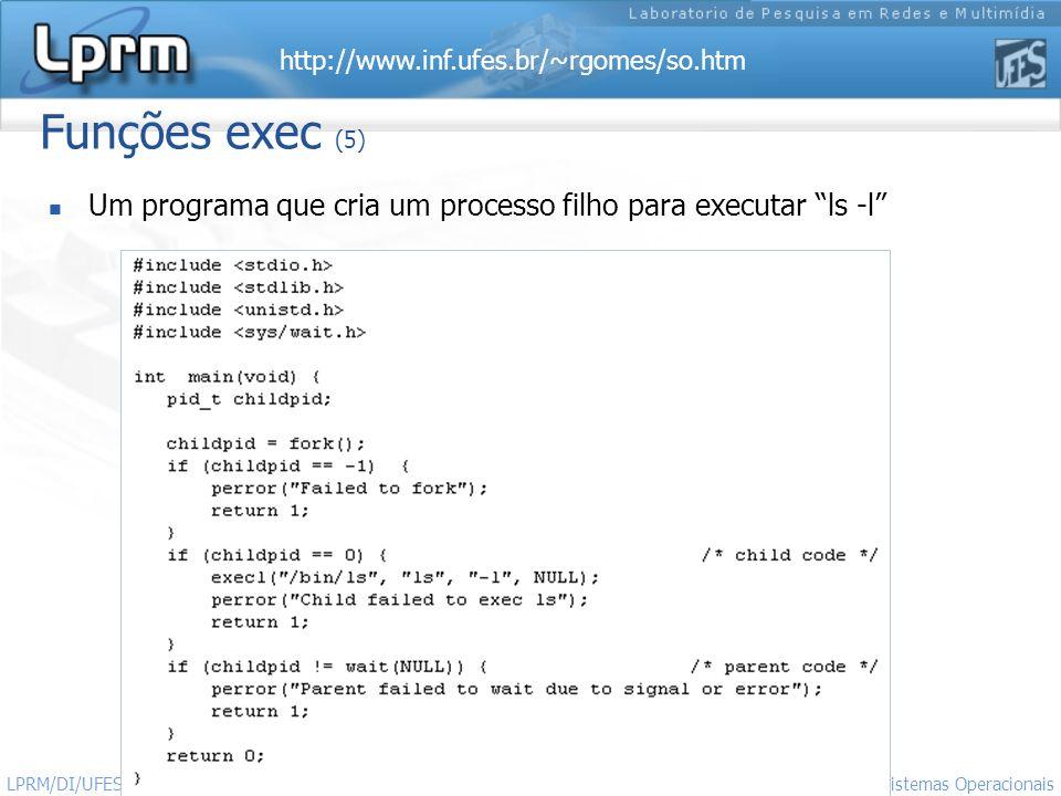 Funções exec (5) Um programa que cria um processo filho para executar ls -l LPRM/DI/UFES.