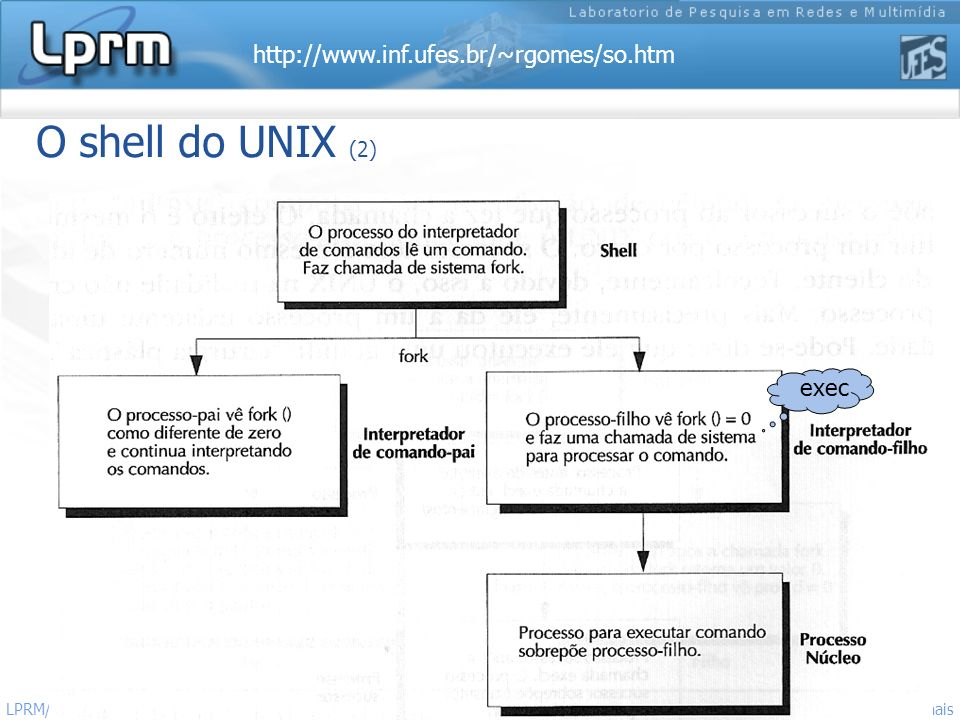 O shell do UNIX (2) exec LPRM/DI/UFES Sistemas Operacionais